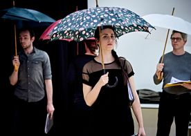 Giulia and Group umbrella shot